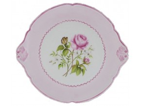 Plat rond Bouquet de roses en porcelaine