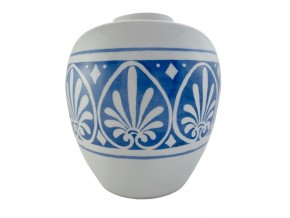 Grand vase fleurs stylisées blanches sur fond bleu