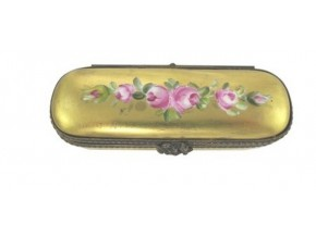 Petite boite Bouquet de roses sur fond or