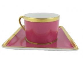 Tasse à thé et sa soucoupe carrée en porcelaine