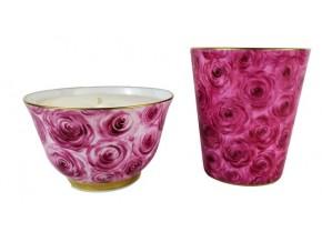 Petit vase bougie Coeurs de roses
