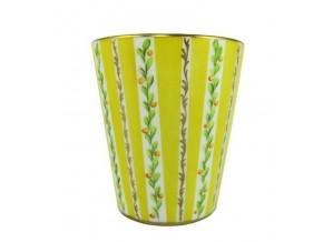 Petit vase bougie bandes jaunes
