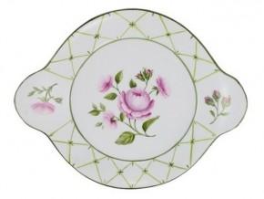 Petit plat rond bouquet de roses en porcelaine