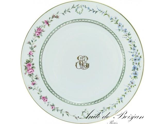 Assiette monogramme avec entrelacs de fleurs