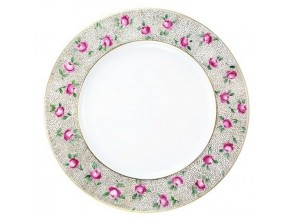 Assiette en porcelaine Roses sur semis de points d'or