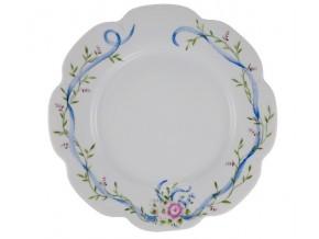 """Assiette festonnée """" Rose Marie"""" bouquet de fleurs  et entrelacs"""