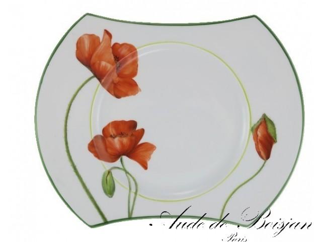 Assiette ''boomerang'' motif floral