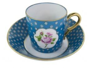 """Tasse à café """"Angélique"""" Roses sur putoisage bleu"""