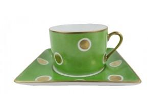 Tasse à thé et sa soucoupe putoisées vert