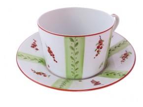 Tasse à thé groseilles et bandes vertes
