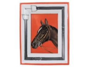 Vide-poche en porcelaine Cheval brun sur fond putoisé  rouge