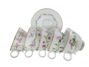 Tasses à thé en porcelaine de Limoges à motifs floraux variés
