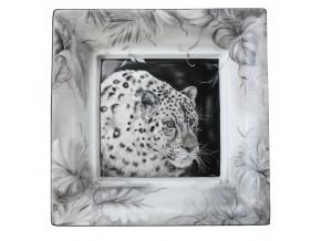 '' La Panthère grise''  vide poche en porcelaine fine de Limoges