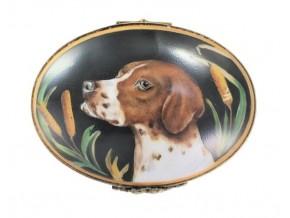 Boite sertie  en porcelaine de Limoges '' Tête de Pointer ''