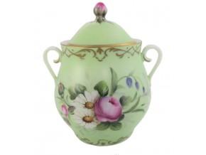 Sucrier Antoinette en porcelaine bouquets de fleurs