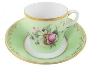 Tasse à café ''Antoinette'' et sa soucoupe en porcelaine