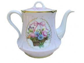 Alice service à thé en porcelaine fine de limoges corbeille de fleurs