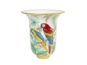 Vase  '' Tropical Jungle Parrots''