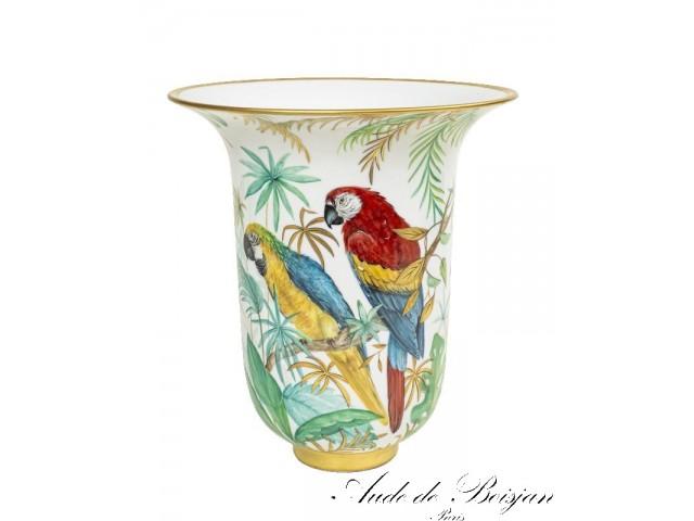 Vase  '' Tropical Jungle Parrots''