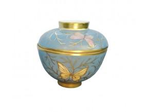 Boite ''Papillons d'or '' en porcelaine