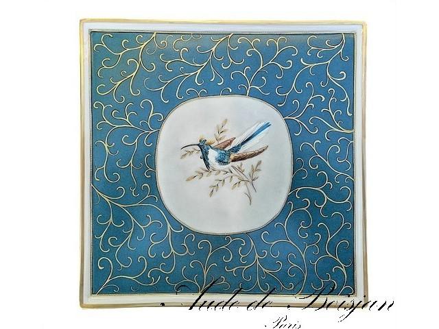 Plateau ''Colibri '' sur fond bleu et arabesques d'or