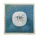 Plateau ''Colibri Royal'' sur fond bleu et arabesques d'or