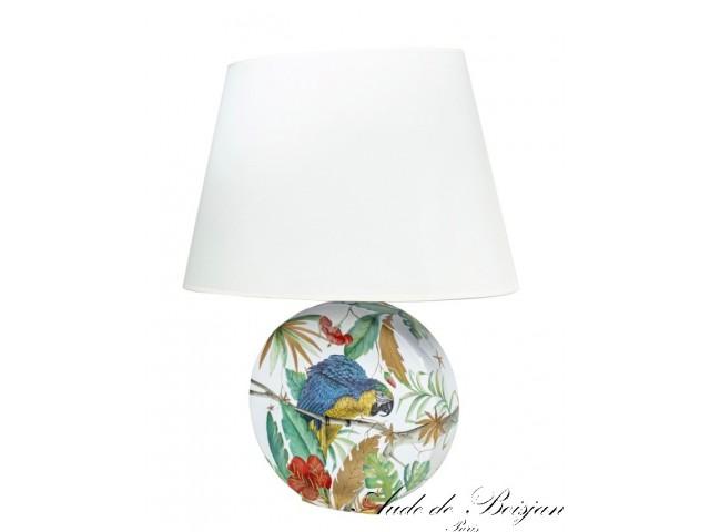 Lampe Tropicale Jungle Parrots en porcelaine