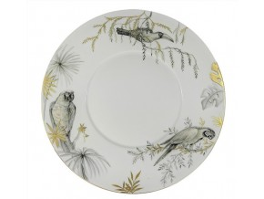 Assiette Black n gold Parrots