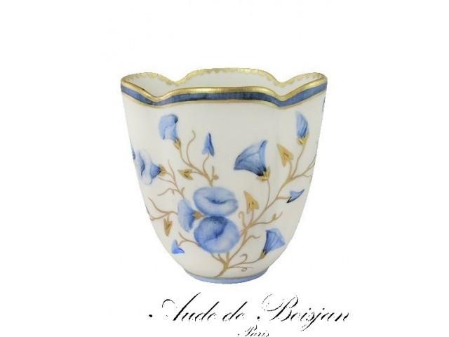 Petit vase satiné fleurs de volubilis bleues et or