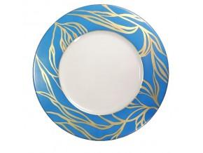 Assiette Ramages d'or stylisés sur fond bleu