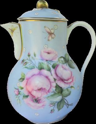 theière décorée de fleur peinte à la main sur porcelaine de limoges