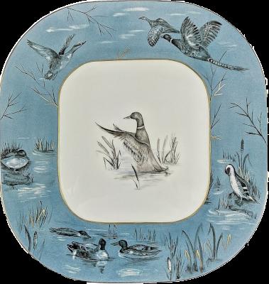 Assiette décorée à la main en porcelaine de limoge décor canard