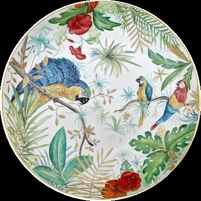 grand plat décorée à la main motif perroquet et jungle